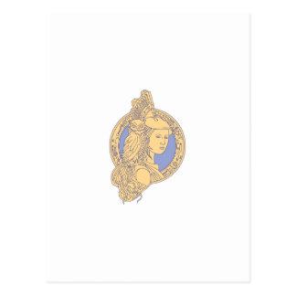 Athena with Owl on Shoulder Circuit Circle Mono Li Postcard