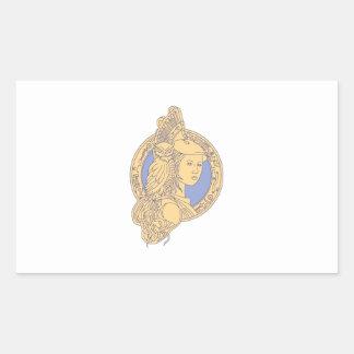 Athena with Owl on Shoulder Circuit Circle Mono Li Sticker