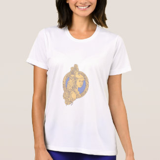 Athena with Owl on Shoulder Circuit Circle Mono Li T-Shirt