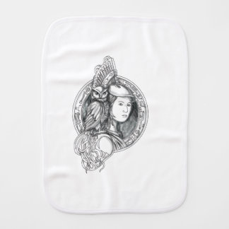 Athena with Owl on Shoulder Electronic Circuit Cir Burp Cloth