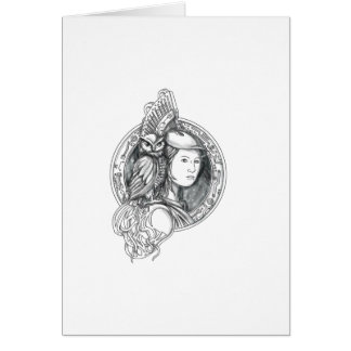 Athena with Owl on Shoulder Electronic Circuit Cir Card