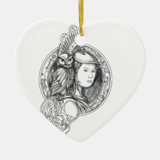 Athena with Owl on Shoulder Electronic Circuit Cir Ceramic Ornament