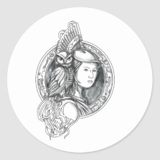 Athena with Owl on Shoulder Electronic Circuit Cir Classic Round Sticker