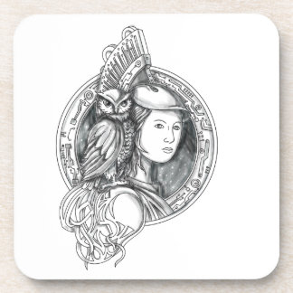 Athena with Owl on Shoulder Electronic Circuit Cir Coasters