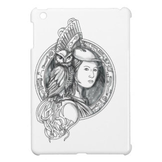 Athena with Owl on Shoulder Electronic Circuit Cir Cover For The iPad Mini