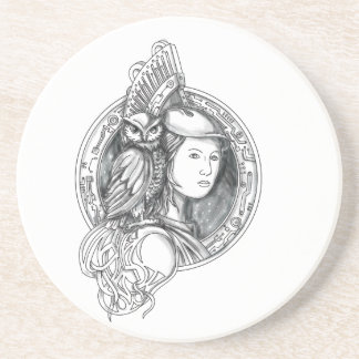 Athena with Owl on Shoulder Electronic Circuit Cir Drink Coaster