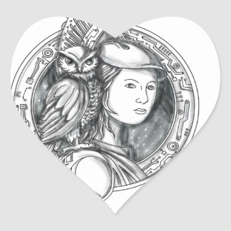 Athena with Owl on Shoulder Electronic Circuit Cir Heart Sticker