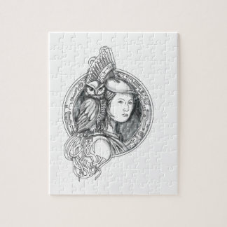 Athena with Owl on Shoulder Electronic Circuit Cir Jigsaw Puzzle