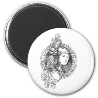 Athena with Owl on Shoulder Electronic Circuit Cir Magnet