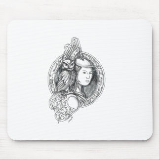 Athena with Owl on Shoulder Electronic Circuit Cir Mouse Pad