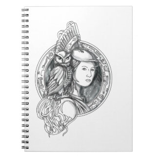 Athena with Owl on Shoulder Electronic Circuit Cir Notebooks