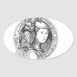 Athena with Owl on Shoulder Electronic Circuit Cir Oval Sticker