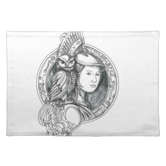 Athena with Owl on Shoulder Electronic Circuit Cir Placemat