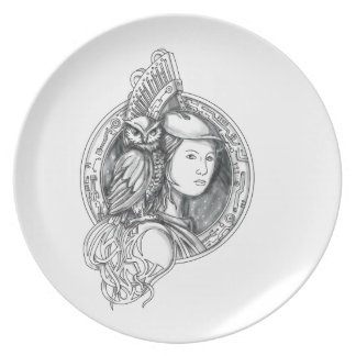 Athena with Owl on Shoulder Electronic Circuit Cir Plate