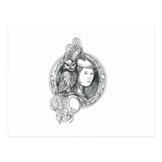 Athena with Owl on Shoulder Electronic Circuit Cir Postcard