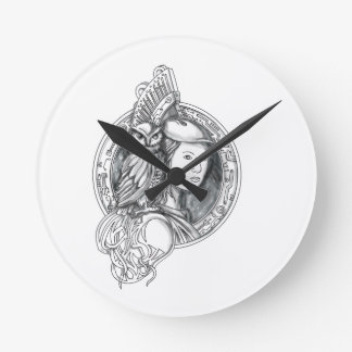 Athena with Owl on Shoulder Electronic Circuit Cir Round Clock