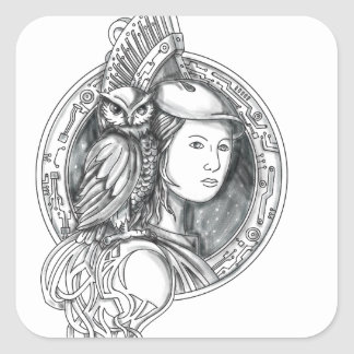 Athena with Owl on Shoulder Electronic Circuit Cir Square Sticker