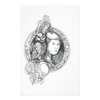 Athena with Owl on Shoulder Electronic Circuit Cir Stationery