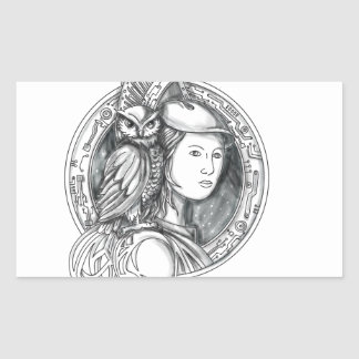 Athena with Owl on Shoulder Electronic Circuit Cir Sticker