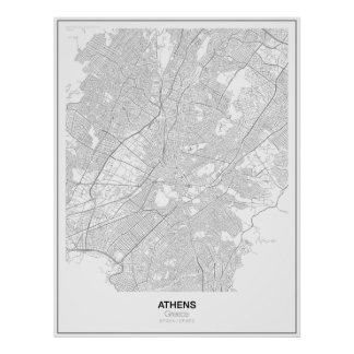 Athens, Greece Minimalist Map Poster (Style 2)