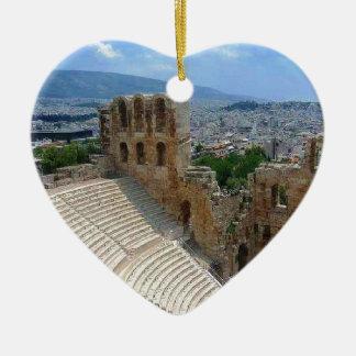 Athens Greece the Colosseum Ceramic Heart Ornament