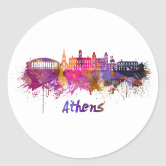Athens OH skyline in watercolor Classic Round Sticker