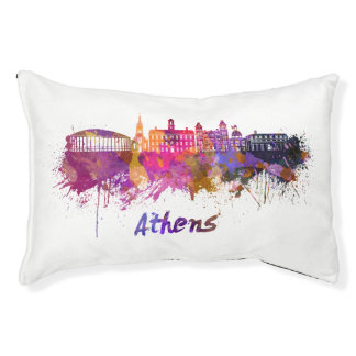 Athens OH skyline in watercolor Pet Bed