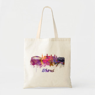 Athens OH skyline in watercolor Tote Bag