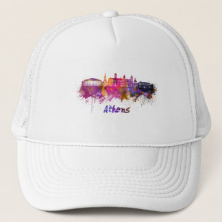 Athens OH skyline in watercolor Trucker Hat