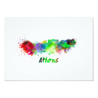 Athens skyline in watercolor card