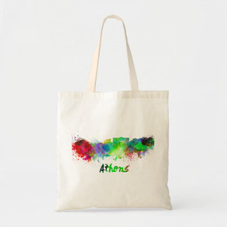 Athens skyline in watercolor tote bag