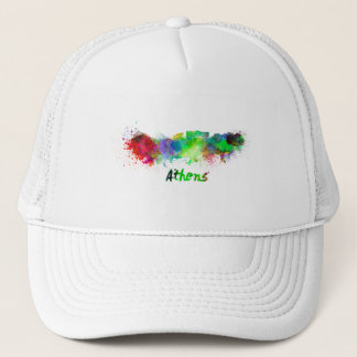 Athens skyline in watercolor trucker hat