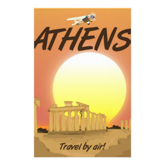 """Athens """"Travel by air"""" Golden Sunset Stationery"""