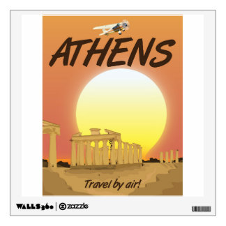 "Athens ""Travel by air"" Golden Sunset Wall Sticker"