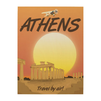 """Athens """"Travel by air"""" Golden Sunset Wood Canvases"""