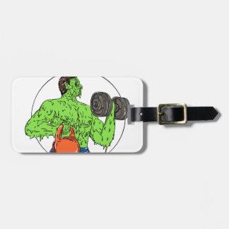 Athlete Fitness Dumbbell Kettlebell Grime Art Luggage Tag