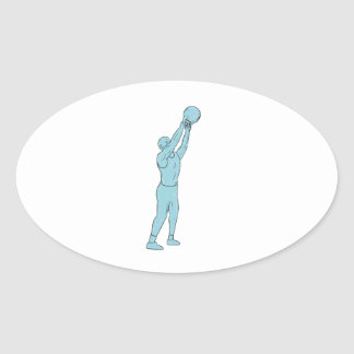 Athlete Fitness Kettlebell Swing Drawing Oval Sticker