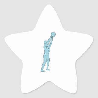 Athlete Fitness Kettlebell Swing Drawing Star Sticker