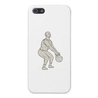 Athlete Fitness Squatting Kettlebell Drawing iPhone 5/5S Cases