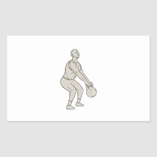 Athlete Fitness Squatting Kettlebell Drawing Sticker
