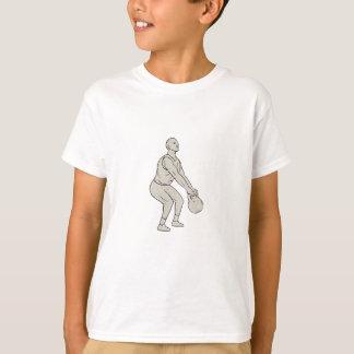 Athlete Fitness Squatting Kettlebell Drawing T-Shirt
