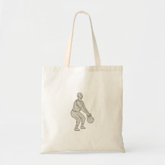 Athlete Fitness Squatting Kettlebell Drawing Tote Bag