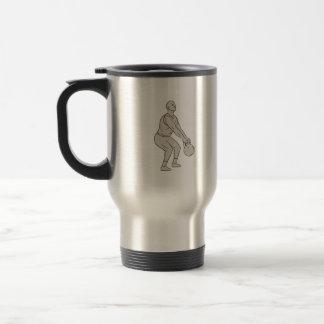 Athlete Fitness Squatting Kettlebell Drawing Travel Mug