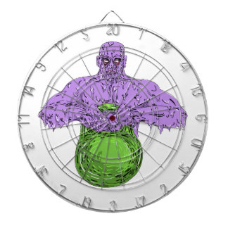 Athlete Lifting Kettle Bell Grime Art Dartboard