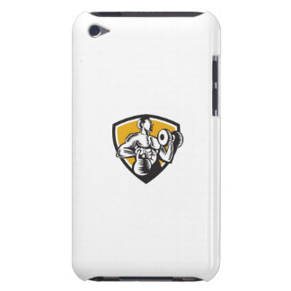 Athlete Lifting Kettlebell Dumbbell Crest Woodcut iPod Touch Cover