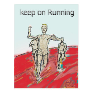 athletes, running , marathon race rdesign postcard
