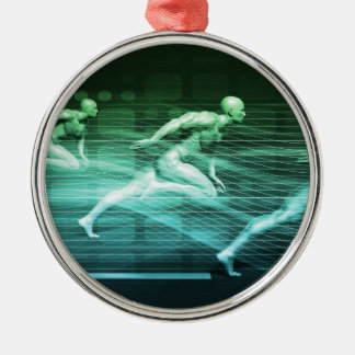 Athletic Training and Running Together Silver-Colored Round Ornament