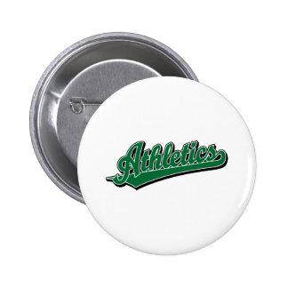 Athletics script logo in green 2 inch round button