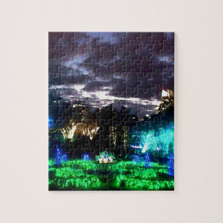 Atlanta Botanical Garden Lights Watercolor Jigsaw Puzzle