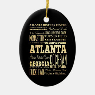 Atlanta City of Georgia State Typography Art Ceramic Ornament